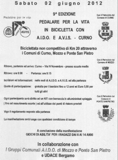Aido: 2 giugno pedalata a Curno in collaborazione con Mozzo e Ponte San Pietro. Gruppi Avis e Aido. « Aido Mozzo « Curno News