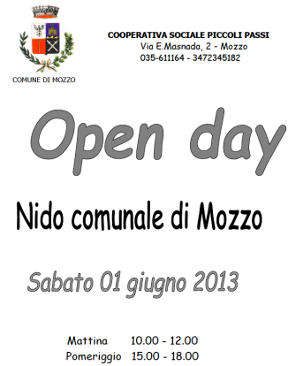 nido comunale mozzo open day 2013