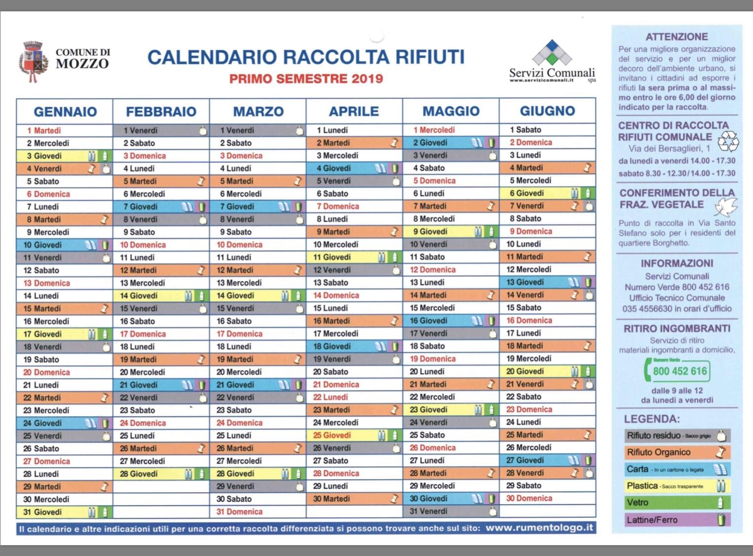 In Un Quartiere Di Una Citta Il Calendario Della Raccolta Differenziata.Mozzo Rifiuti Il Calendario 2019 Ma C E Anche L App Che Ti